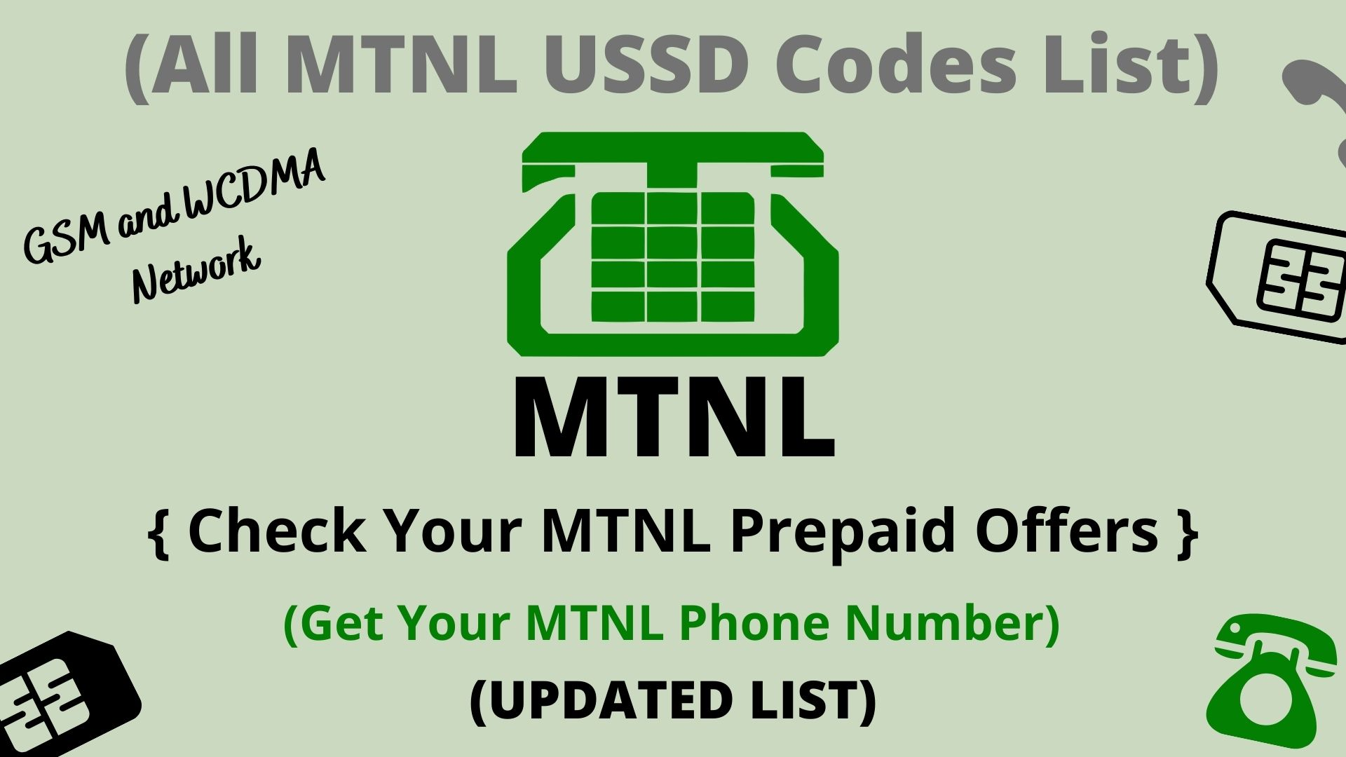 All MTNL USSD Codes List